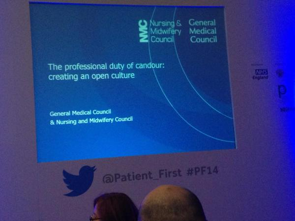 Workshop on openness and candour at Patient First 2014 (photo courtesy @MATCHTeamtime)