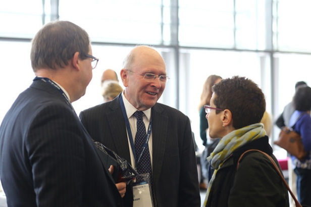 GMC Chief Executive Niall Dickson (centre) chats with guests at the GMC conference 2015
