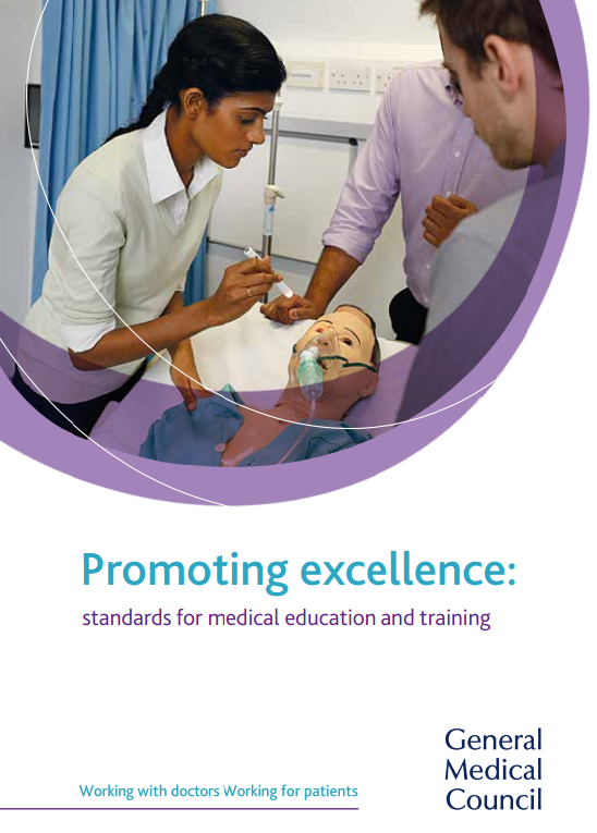 The front cover of Promoting excellence: standards for medical education and training