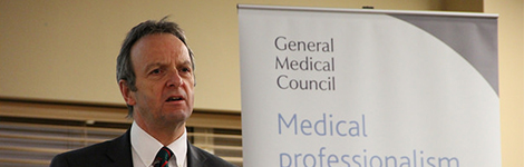 Prof Terence Stephenson speaking at an event in Cardiff