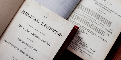 Front page of the first medical register published in 1859