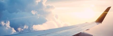 aeroplane wing in sky