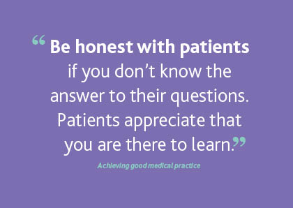 Quote on honesty from Achieving good medical practice