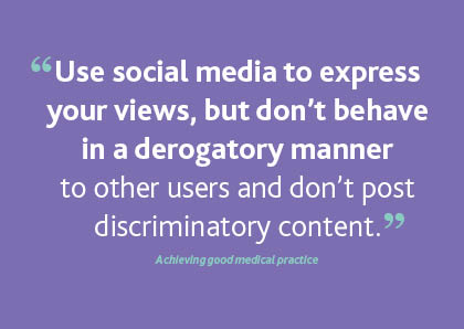 Quote on social media from Achieving good medical practice