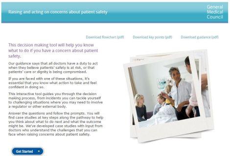 Screenshot of the GMC's raising concerns decision tool